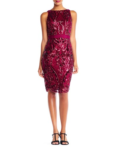 Sequined Cocktail Papell Adrianna Red Dress Sheath 5nZpxHx0q