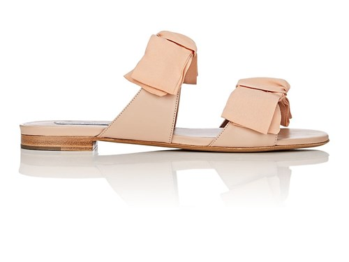 Tabitha Simmons Summer Crepe And Leather Slide Sandals Flcal GLEcteF