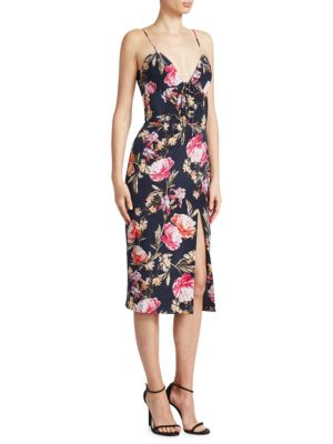 Nicholas Lucile Silk Floral Dress Navy i9cAalC