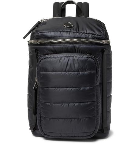 Moncler New Yannick Leather Trimmed Quilted Shell Backpack Navy SYcfNM