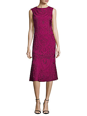 JS Collections Soutache Midi Dress Fuchsia 2IOA0d3kt