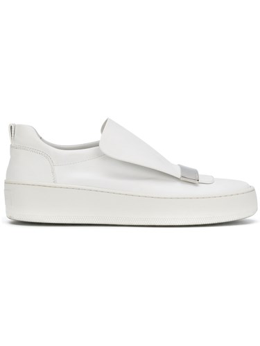 Sergio Rossi Blair Slip On Sneakers Women Leather Metal Rubber 39 White RBkMd5