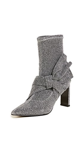 Sigerson Morrison Helin Bow Ankle Booties Silver fpndHMR