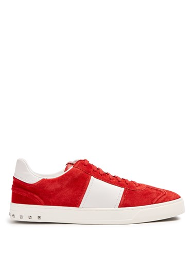 Valentino Fly Crew Low Top Suede Trainers Red Multi ijZvSzna