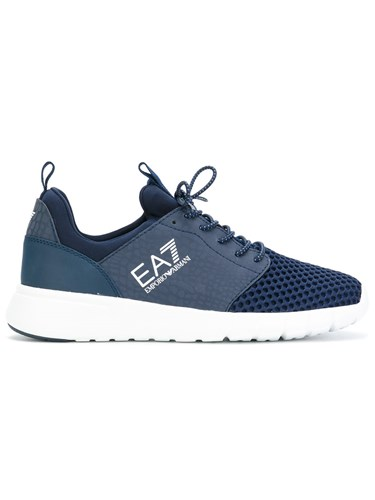 Emporio Armani Ea7 Elasticated Lace Up Sneakers Women Polyester Synthetic Resin Rubber 37.5 Blue 00KNO4p87