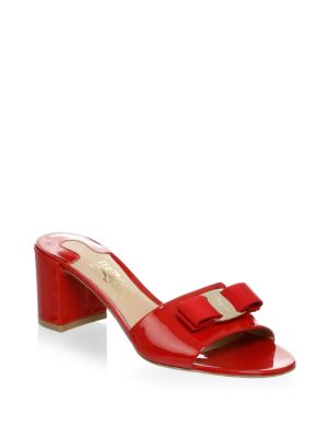 Salvatore Ferragamo Patent Leather Slip On Sandals Lipstick Il7Cn
