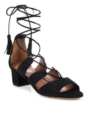Tabitha Simmons Isadora Suede Lace Up Sandals Black kQ9JDzdUw