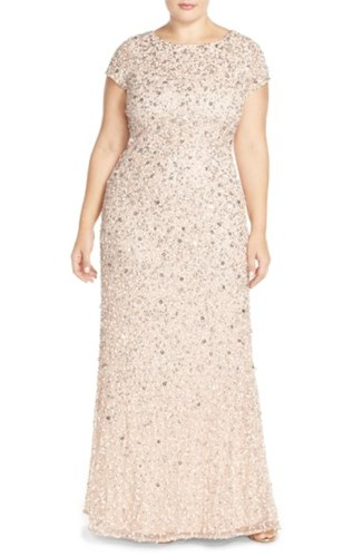 Adrianna Papell Plus Size Women's Embellished Scoop Back Gown Blush gzP1SwIT