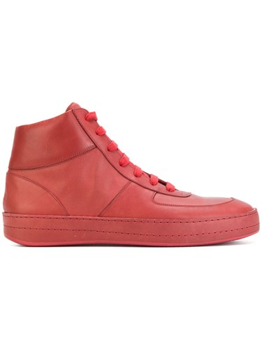 Ann Demeulemeester High Top Sneakers Leather Rubber Red uJTNAIm