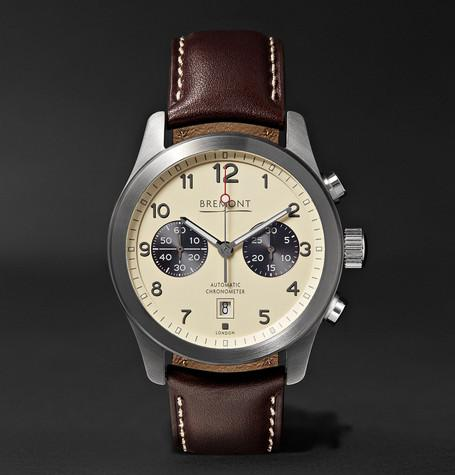 Alt1 Classic Cr Automatic Chronograph 43Mm Stainless Steel And Leather Watch Cream