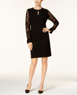 Lace Black Dress Deep For Macy's Created Club Charter Petite Keyhole Sleeve 4vWxgUAfqA