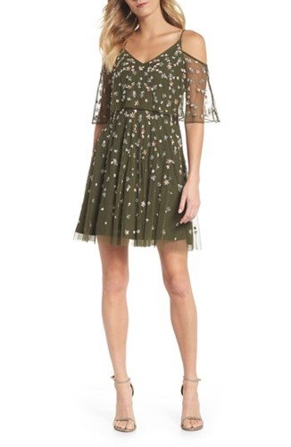 Adrianna Papell Beaded Overlay Minidress Olive CCHh6yD5