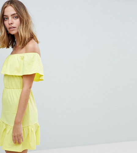 Asos Design Petite Off Shoulder Sundress With Tiered Skirt Lemon Yellow Multi PJl9f9