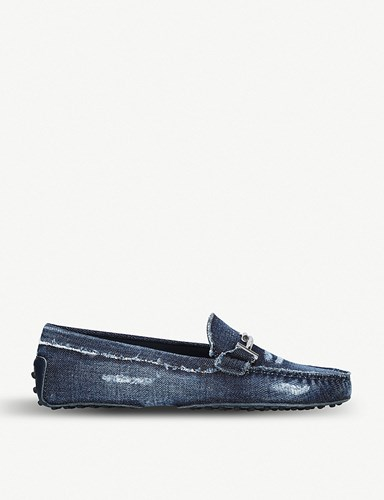 Driving Blue Double Tod's Gommini Shoes T Denim vZSSpq
