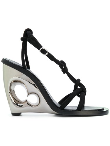Leather Wedge Alexander Sandal Black McQueen Sculpted Ewqx8xfIY