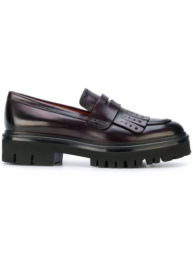 Rubber Loafers Chunky Purple 37 Pink 5 Leather Santoni Sole qWPUnHvHa
