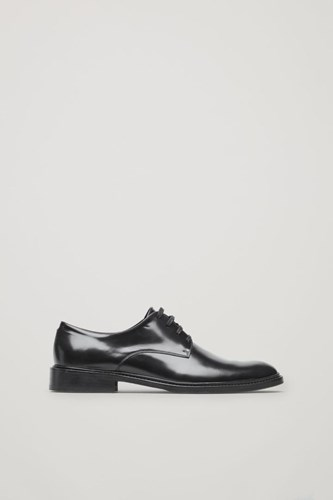 COS Polished Leather Derby Shoes Black bUiYgzDYo