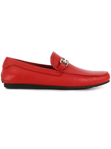 Salvatore Ferragamo Engraved Buckle Loafers Red W2uedqt