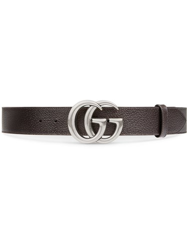 Leather Belt With Double G Buckle Women Leather Brass 95 Brown