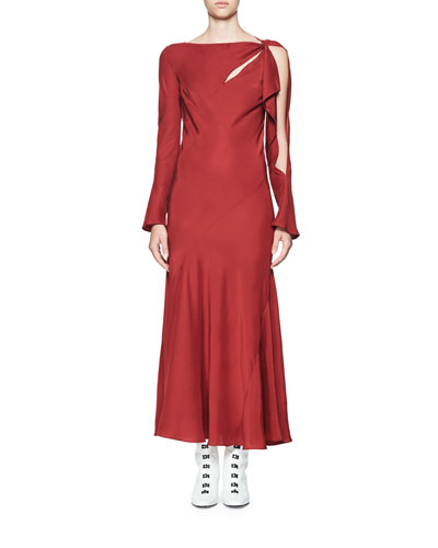 Maxi Tessil Asymmetric Bias Red Cut Dress Olivier Theyskens 5wxIXX