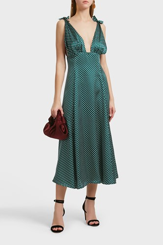 ALEXACHUNG Alexa Chung Polka Dot Dress Green afNlRC