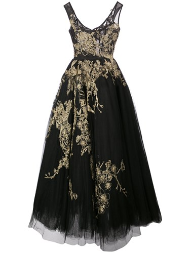 Marchesa Metallic Embroidered Tulle Gown Black R8V6Hco6