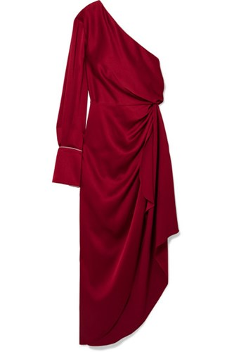 Monse One Shoulder Satin Gown Crimson xyUODEBhD