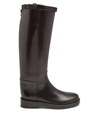 Ann Demeulemeester Knee High Leather Boots Black MM7bOmA5u
