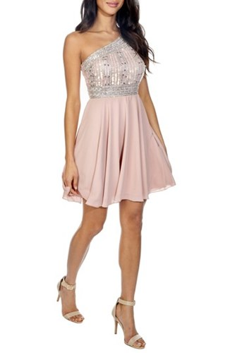 LACE Pink BEADS One Shoulder Embellished amp; Althea Dress qwZr6qSAn