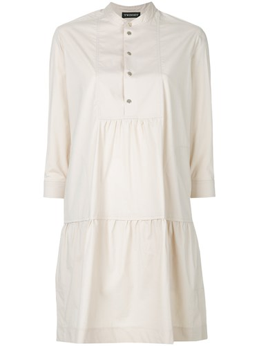 Twin-Set Henley Shirt Dress Brown s5gEbaSHvw