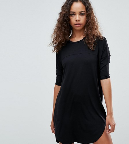 Asos Petite Oversize T Shirt Dress With Seam Detail Black wZVdfD4RHV