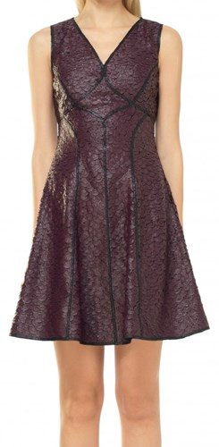 Leon Max Fit And Flare Coated Applique Dress HPl9Z