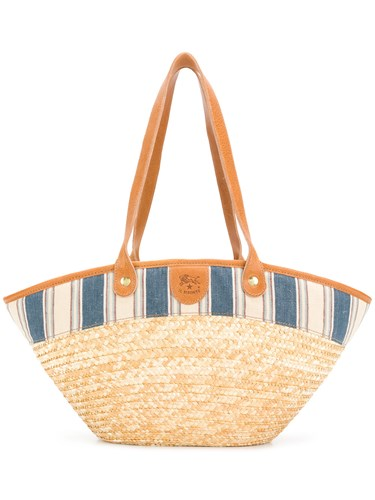 Il Bisonte Striped Poplin Trim Tote Nude And Neutrals GxeXjc