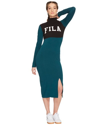 Fila Rio Dress Deep Teal Black Gardenia Women's Dress Green B51GX