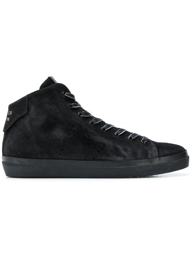 Leather Crown Smooth Lace Up Sneakers Black VUZewzISI