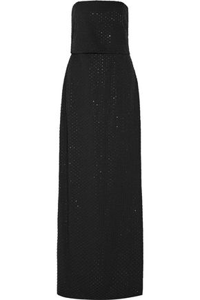 Halston Strapless Beaded Crepe Gown Black Wi4IM