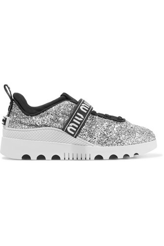 Miu Miu Glittered Neoprene And Rubber Sneakers Silver Ono1sLmV