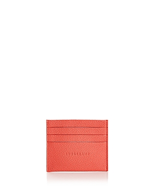 Longchamp Le Foulonne Leather Card Case Coral Pink ajIgnc