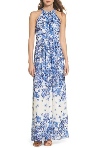 Eliza J Floral Halter Neck Maxi Dress Blue Yb5nOPsosd