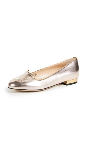 Charlotte Olympia Kitty Flats Rose Gold IuinM