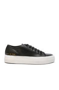 Common Projects Leather Low Tournament Super Sneakers In Black gfOhvB298