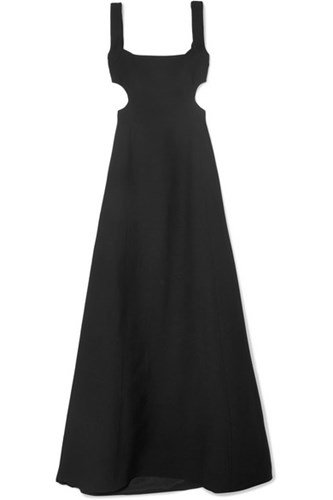 Valentino Cutout Wool And Silk Blend Crepe Gown Black ViCYy3Q