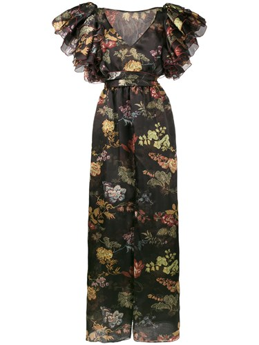 Rosie Assoulin Floral Print Maxi Dress Silk Black uxXtaFvm