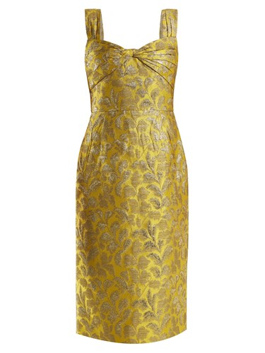 Prada Sweetheart Neck Floral Brocade Dress Yellow kXVRhyWSS