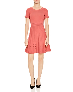 Sandro Etor Eyelet Detail Pleated Knit Dress Raspberry EFlzCy