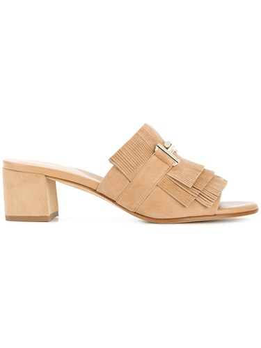 Tod's Double T Fringed Mules Nude And Neutrals QAUrGKruOF