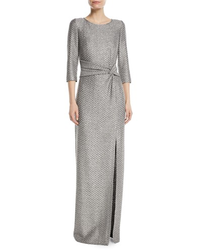 Silver Glamour John Gown Sequin Knotted Waist St wAZxz040