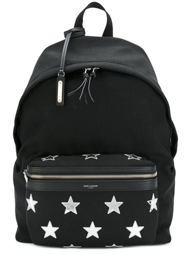 Saint Laurent City Star Patch Backpack Men Cotton Leather One Size Black 3V8Tv73