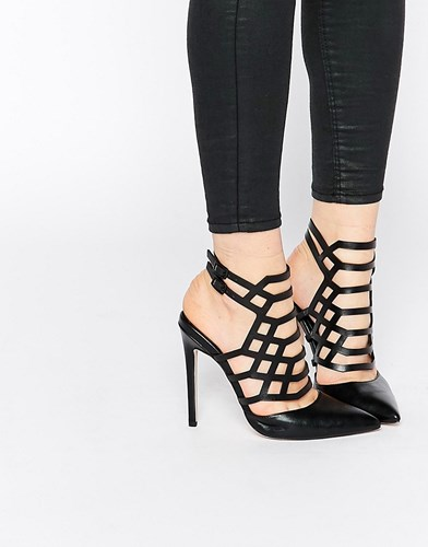 Passenger Pointed Caged Heels Black