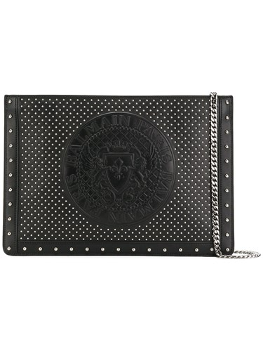 Balmain Medallion Embossed Studded Clutch Black Qs5jYc